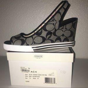 Coach Sydney Wedge Shoes Signature Black White 7.5
